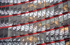 Red lines with glass